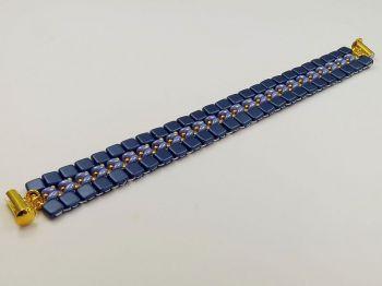 flaches Armband in Blautönen